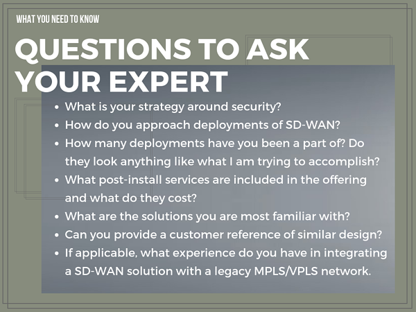 Questions to ask you SD-WAN expert before you choose