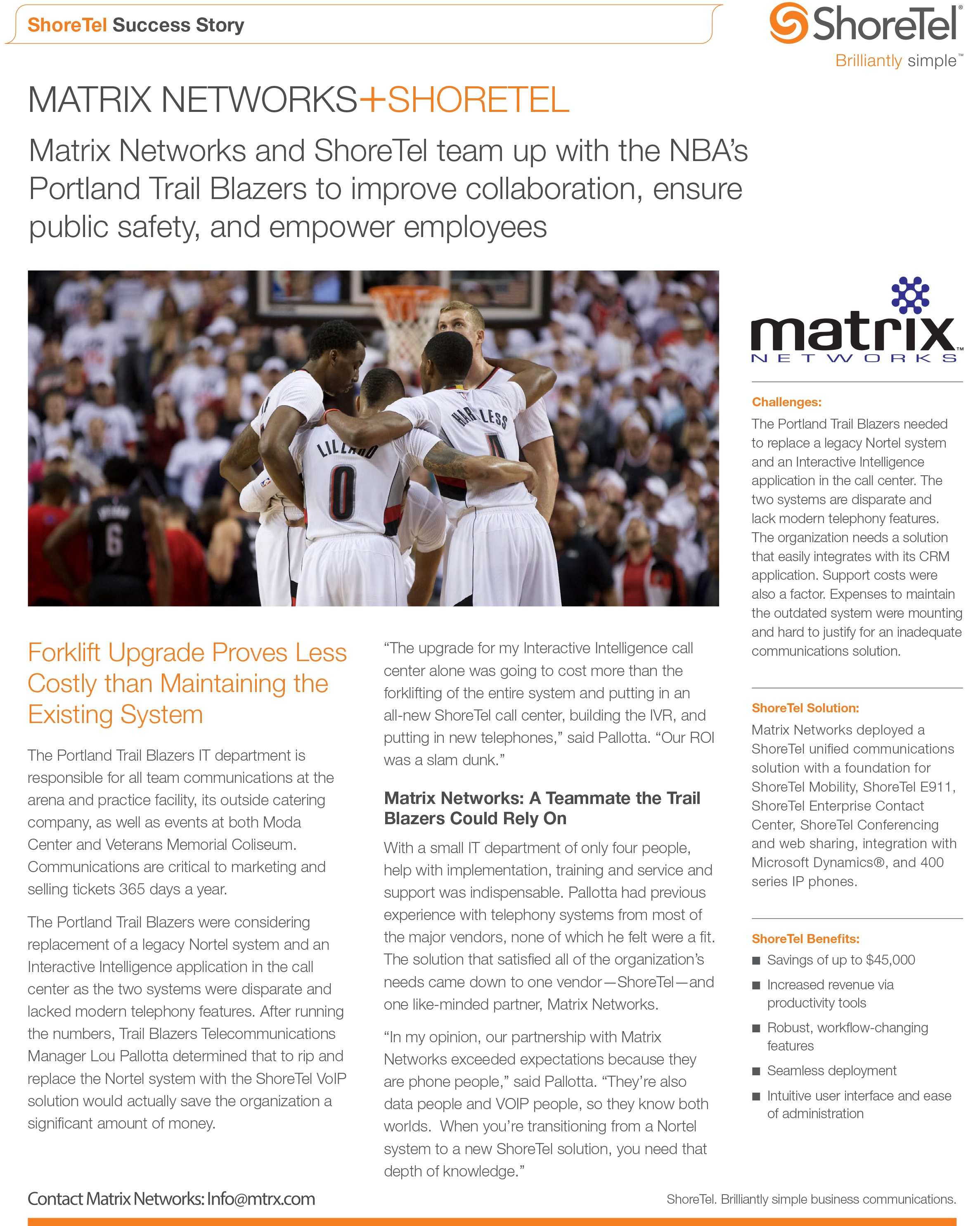 Portland Trail Blazers select Matrix Networks for their ShoreTel Phone System deployment.
