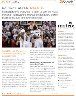 Portland Trail Blazers select Matrix Networks for their ShoreTel Phone System deployment.