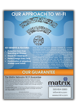 Matrix Networks provides WIFI Solutions backed by a WIFI Guarantee